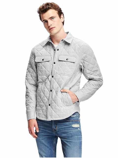 Old Navy Quilted Shirt Jacket For Men Gray From Gap For 3778