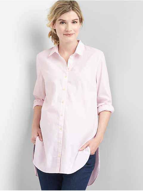 66cc0b435aa Maternity Tailored Oxford Tunic Shirt
