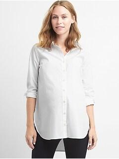 838a57f440 Maternity Tailored Poplin Tunic Shirt