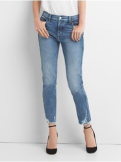 3f2b0d9984e9 High Rise Slim Straight Jeans with Distressed Detail