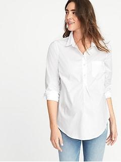 7409fb4f35f Maternity Classic White Popover Shirt