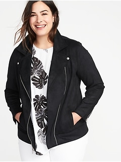 857ef0c5e83 Plus-Size Sueded-Knit Moto Jacket
