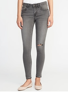 Mid-Rise Distressed Raw-Edge Gray Rockstar Jeans for Women