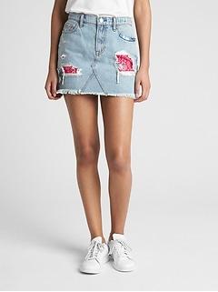 0927225a87b Denim Mini Skirt in Rip and Repair