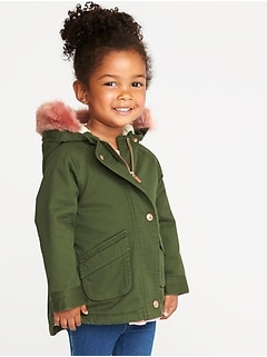 5d0b456f8b3 Hooded Faux-Fur-Trim Field Jacket for Toddler Girls