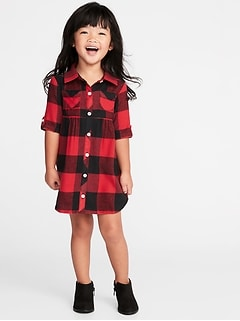 Plaid Flannel Shirt Dress For Toddler S