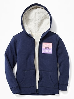 dac2ee1636a Graphic Sherpa-Lined Zip Hoodie for Girls