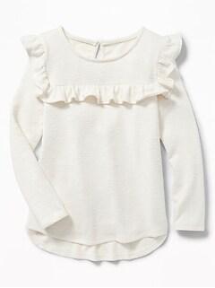 2b501914ce6c Sweater-Knit Ruffled-Yoke Top for Girls