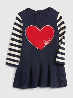 ac579294f Baby Heart Stripe Peplum Sweater Dress
