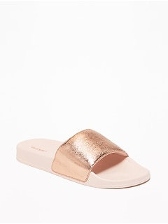 48975535fdf Faux-Leather Pool Slide Sandals for Women