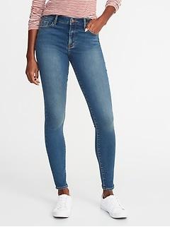 Mid-Rise Built-In Warm Rockstar Super Skinny Jeans for Women