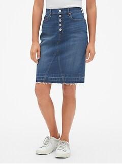 89e08d26f High Rise Button-Fly Denim Pencil Skirt with Raw Hem