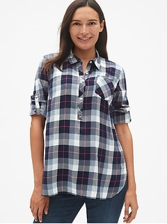e48a5c3e779 Maternity Roll-Sleeve Flannel Popover Shirt