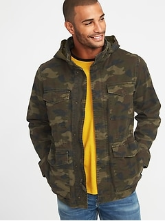 237acb1e447 Built-In Flex Stowaway-Hood Camo Military Jacket for Men