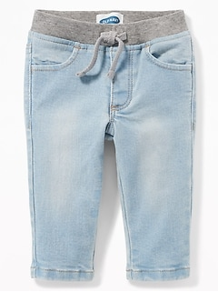 a2df78c6950c5a Rib-Knit-Waist Pull-On Jeans for Baby