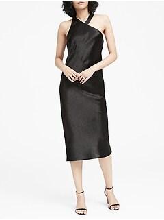 Textured Satin Racerback Dress