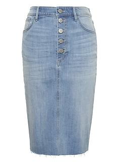 bacaa9b91e8f Button-Fly Denim Skirt