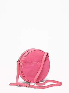 b1b859adbd Faux-Suede Faux-Leather Crossbody Circle Bag for Women