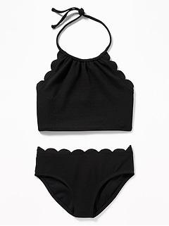 030a250653 Textured Scalloped-Edge Tankini Swim Set for Girls