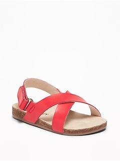 c0136998bf2f2e Faux-Leather Cross-Strap Sandals for Baby