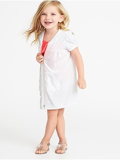 96a9cb0d69 Loop-Terry Hooded Zip Front Swim Cover-Up for Toddler Girls