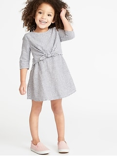 fac45e111e56 Striped Tie-Front 3 4-Sleeve Dress for Toddler Girls