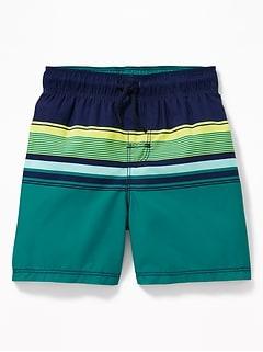 4533aaff36 Functional Drawstring Multi-Stripe Swim Trunks for Toddler Boys