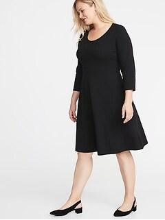 48b7187f785 Fit   Flare 3 4-Sleeve Plus-Size Jersey Dress