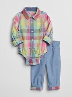 39684cf4de851 Baby Button-Down Khaki Outfit Set