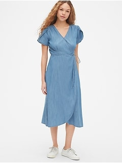 2614abc83e50 Short Sleeve Midi Wrap Dress in TENCEL  153