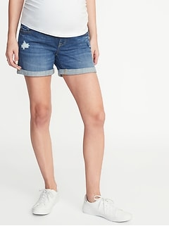 ede563d04319f Maternity Full-Panel Distressed Denim Boyfriend Shorts - 5-inch inseam