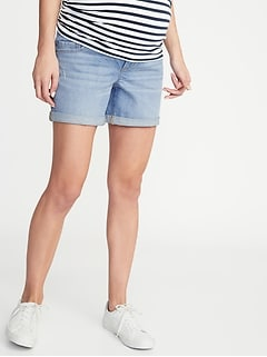 11e39056d6335 Maternity Front-Low Panel Distressed Boyfriend Denim Shorts - 5-inch inseam