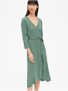 ac0c26dc8be1 Three-Quarter Sleeve Knit Midi Wrap Dress