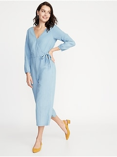 Waist-Defined Wrap-Front Chambray Jumpsuit for Women c9853c5e5