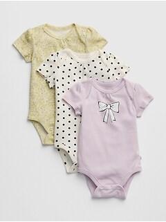 608941985 Baby Print Short Sleeve Bodysuit (3-Pack)