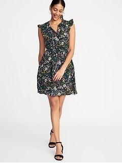 Waist Defined Flutter Sleeve Dress For Women