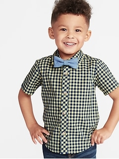 de6b856f6542a Built-In Flex Gingham Shirt   Chambray Bow-Tie Set for Toddler Boys