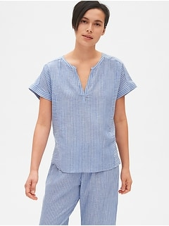 bf44755656 Dreamwell Stripe Split-Neck Top