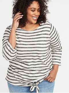 fef75a6705e Relaxed Plus-Size Tie-Front Mariner Top