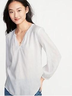 Slub-Weave Split-Neck Blouse for Women 520245954