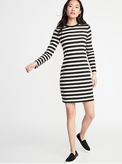 5cfcc68aaf9ee Fitted Striped Jersey Shift Dress for Women
