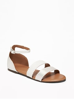 6fad34244c3e8 Faux-Leather Scalloped-Strap Sandals for Girls