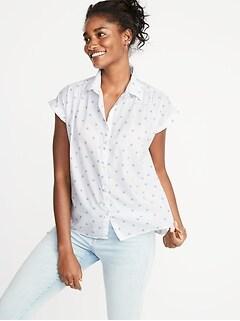 21587cda45857 Relaxed Cap-Sleeve Shirt for Women