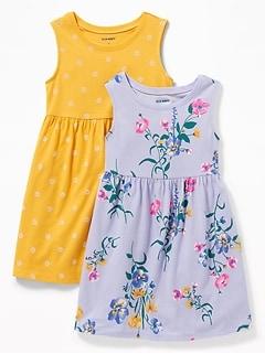 052051c9d0 Floral-Print Jersey Fit   Flare Dress 2-Pack for Toddler Girls