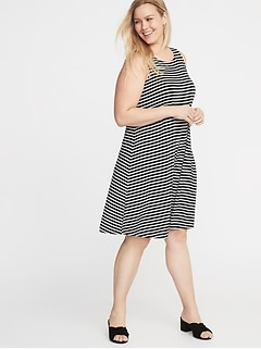 11dae0c165 Sleeveless Plus-Size Jersey Swing Dress