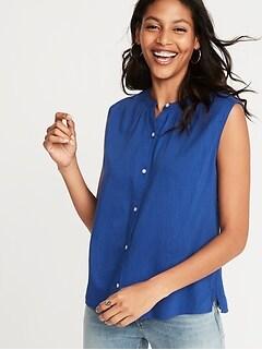 7457c0fd Sleeveless Button-Front Shirt for Women