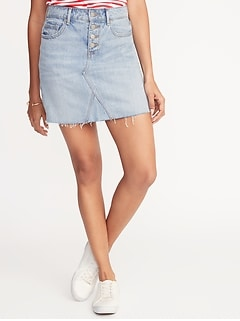 47b5db9d087 High-Rise Button-Fly Raw-Edge Denim Skirt for Women