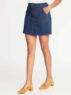 a4323c4e14df Utility-Pocket Denim Skirt for Women