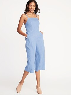 4bb15ae3b4b Waist-Defined Square-Neck Cami Jumpsuit for Women