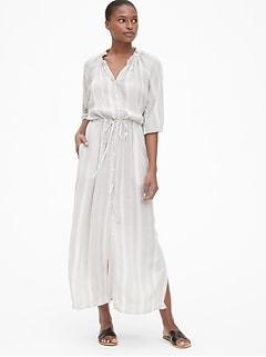 9eb9fdc4dab5 Perfect Tie-Waist Maxi Shirt Dress